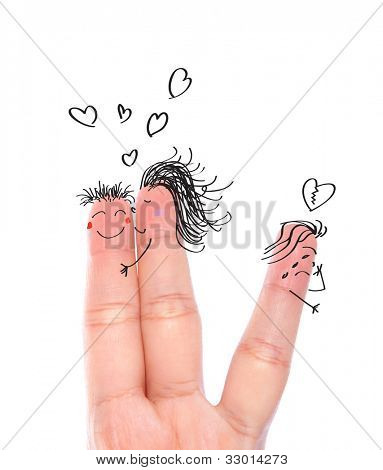 Broken  heart concept painted on human fingers ( one women kiss man and one women crying )