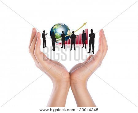 Hands hold Silhouettes of business with red graph and earth (Elements of this image furnished by NASA)