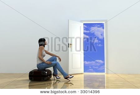 Girl on a suitcase in an empty room.