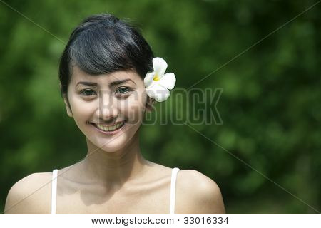 Friendly Asian Woman Smiling
