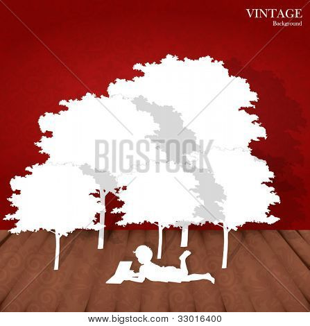 Seamless retro pattern background with children read a book under tree. Vector Illustration.