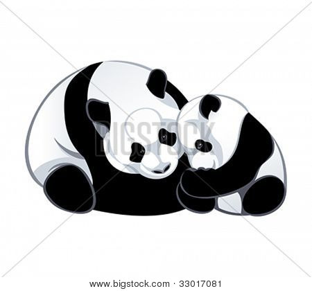Cute baby and mommy panda isolated