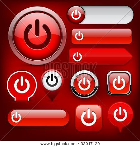 Power red design elements for website or app. Vector eps10.