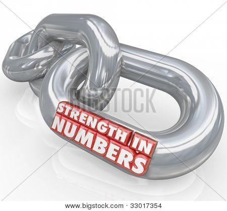 The words Strength in Numbers on chain links symbolizing the power and potential of joining forces with others to work toward achieving a common goal with success
