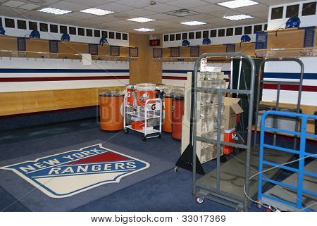 Locker room of New York Rangers