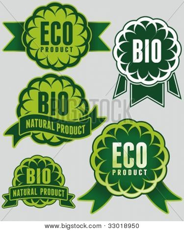 Set of eco & bio badges and labels.