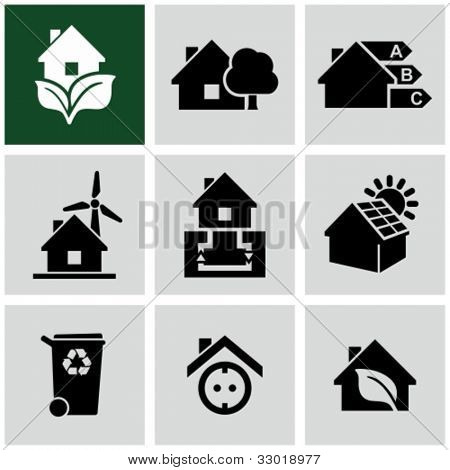 Eco green house icons set. Environmentally friendly home.