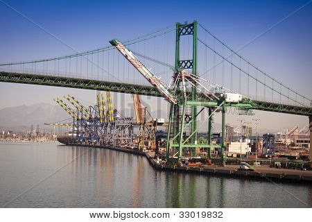 Busy San Pedro Ship Yard and Bridge.