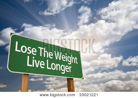 Lose The Weight Live Longer Green Road Sign with Dramatic Clouds, Sun Rays and Sky.
