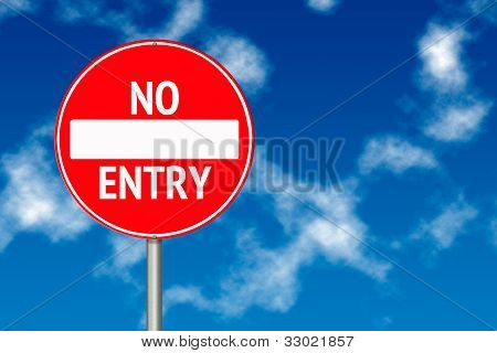 No Entry Board Traffic Sign