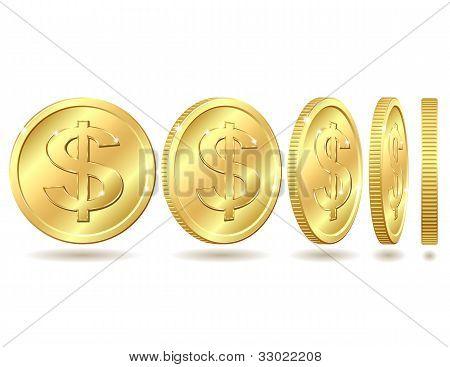 金色硬币美元符号 库存矢量图和库存照片