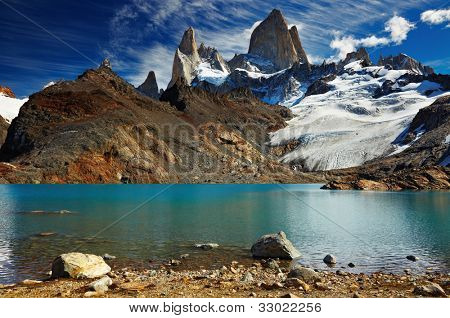 Laguna de Los Tres e Monte Fitz Roy, Parque Nacional de Los Glaciares, Patagónia, Argentina