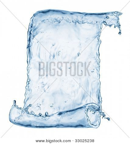 Old paper scroll made out of water splashes isolated on white