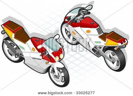 Isometric Motorcyle In Two Positions