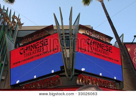"""LOS ANGELES - MAY 14:  Graumans 6 Theater Marquee  at the """"What To Expect When You're Expecting"""" Premiere at Graumans Chinese Theater on May 14, 2012 in Los Angeles, CA"""
