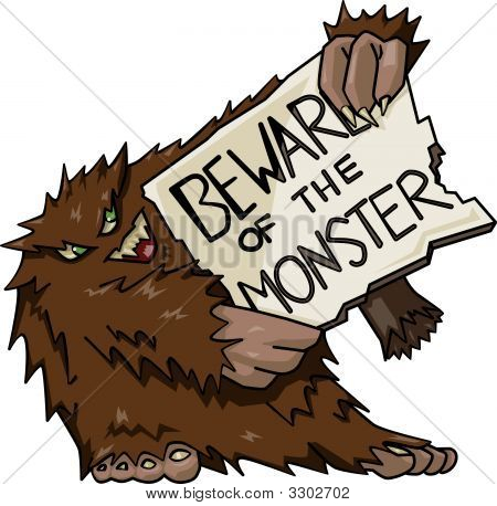 Monster With Sign