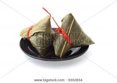 Two Wrapped Chinese Rice Dumplings
