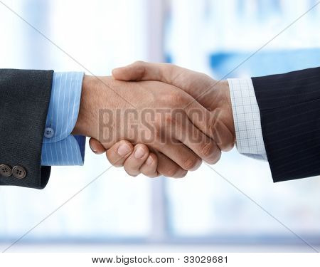 Closeup photo of business handshake, agreement, success, congratulation.