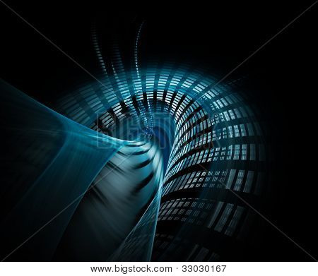 Computer graphics abstract background design in blue and black colors