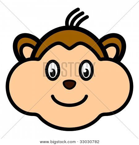 Cartoon character monkey smiling face web user avatar or icon