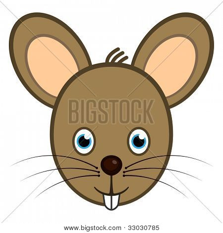 Cartoon character mouse smiling face web user avatar or icon