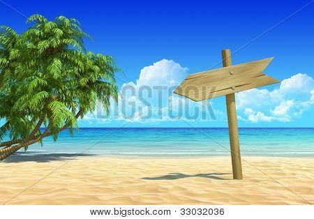 Empty wooden signpost to place your logo, product or text. Palms on idyllic tropical sand beach. Clean, extremely detailed 3d render. Concept for rest, holidays, resort, spa design or background.