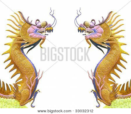 twin golden dragon use as chinese background