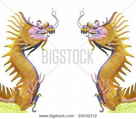 Goldener Drache Doppelgebrauch als chinesische Hintergrund