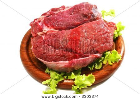 Raw Beef Meat And Salad Over White On Plate