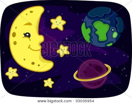 Ilustración de la vista de la tierra desde el espacio exterior