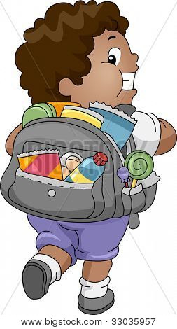Illustration of an Overweight Boy Carrying a Bag Full of Snacks