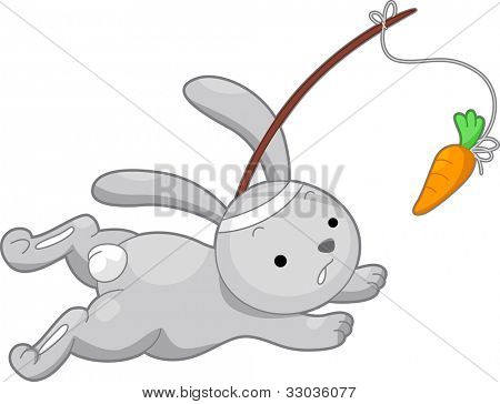 Illustration of a Rabbit Running After a Carrot