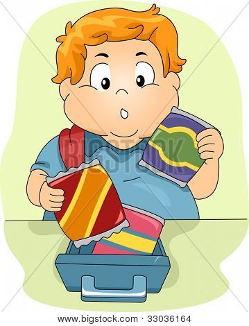 Illustration of an Overweight Boy Deciding on What to Eat