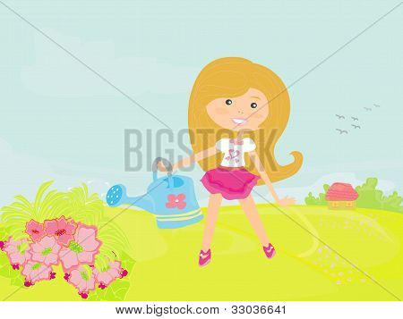 Little girl watering the flowers in the family garden at a summer day