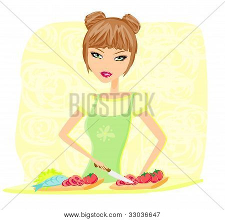 Beautiful lady cooking vegetables in kitchen