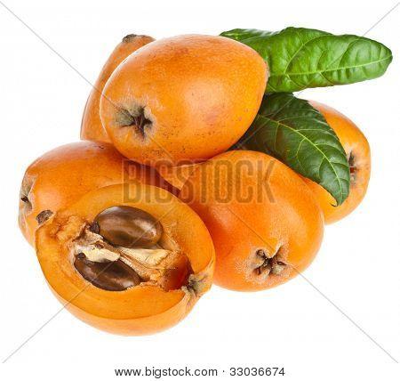 Loquat Medlar fruit isolated on a white background