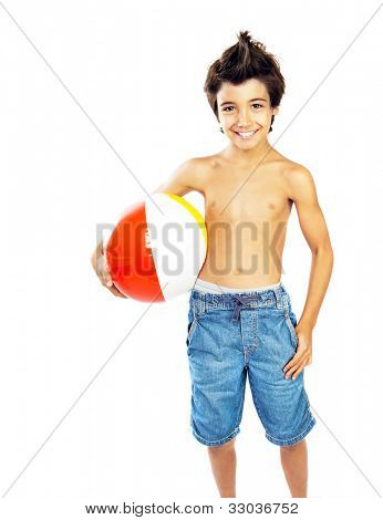 Happy boy with beach ball isolated over white background, kid having fun, healthy child playing game, cute teen enjoying sport and fitness, summer holidays and vacation