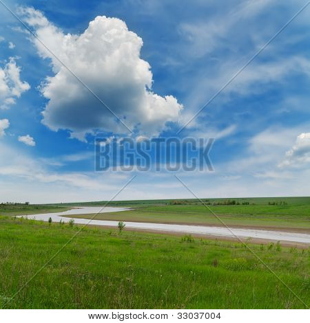 river in green grass under cloudy sky