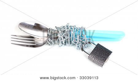 Fork and spoon with chain and padlock isolated on white
