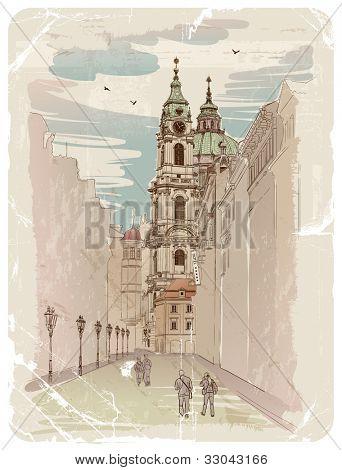 Vector sketch of Saint Nicholas Cathedral in Prague, Czech Republic