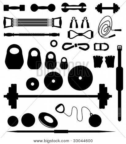 Conjunto de siluetas de los equipos para levantamiento de pesas