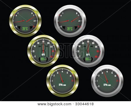 Set of three car dials with speedometer,rev counter and petrol and temperature gauge with gold and silver trim