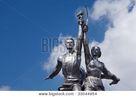 MOSCOW - JUNE 11: Famous soviet monument Worker and Collective Farmer of sculptor Vera Mukhina, June 11, 2011, Moscow, Russia. Height of about 25 m (pedestal - 33 m). Total weight - 185 tons.