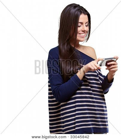 portrait of a young woman touching a modern mobile over a white background
