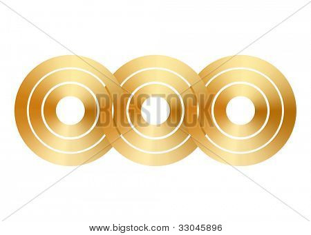 Three connected golden rings, illustration
