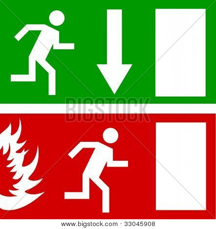 Emergency fire exit door and exit door, vector sign