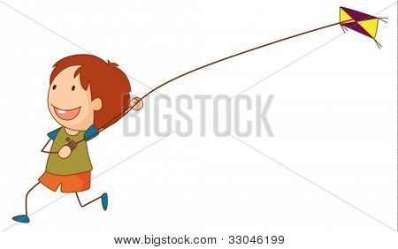 Illustration of a girl flying a kite