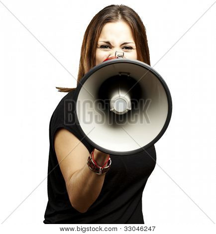portrait of a young woman shouting with a megaphone over a white background