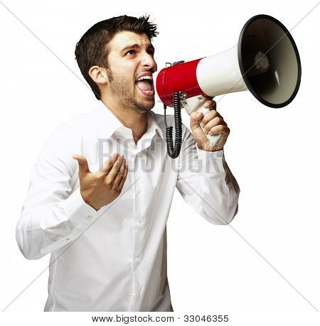 portrait of a young man shouting with a megaphone over a white background