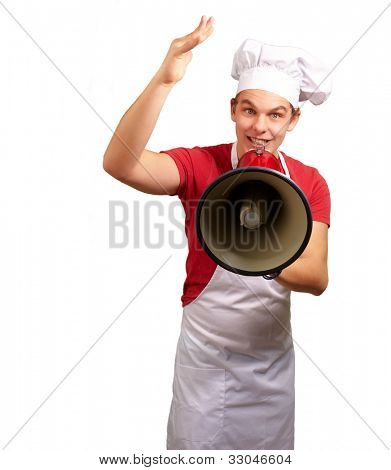 portrait of a happy cook man shouting using a megaphone over a white background